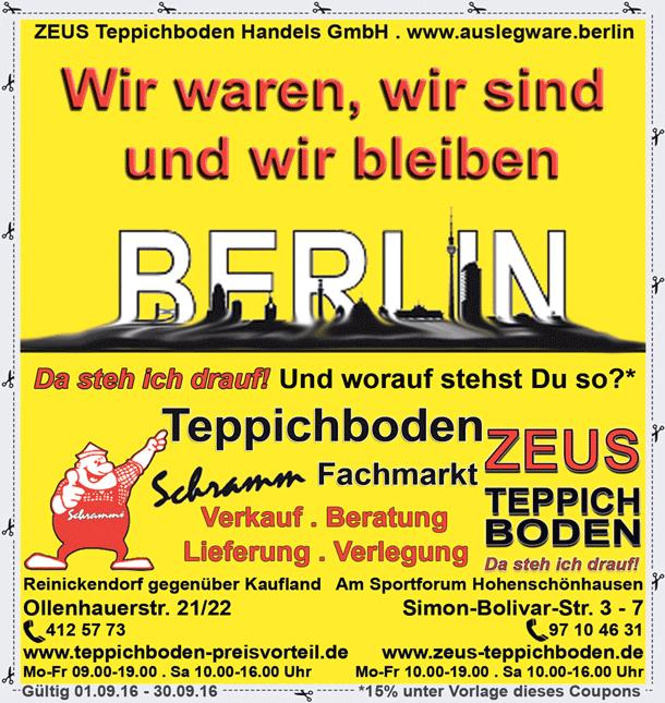 Zeus Teppichboden Berlin  Auslegware, Teppich und CV